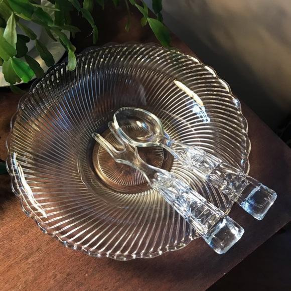 VINTAGE GLASS SERVING SALAD BOWL & GLASS UTENSILS